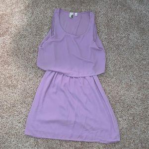 botique open back flowy purple mini dress